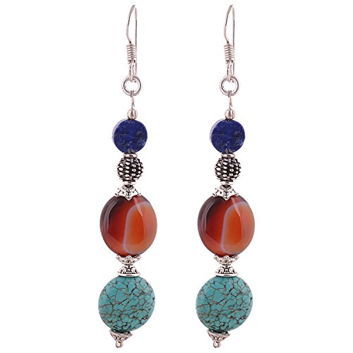 Iris Hand Crafted Tibetan Earrings With Lapis And Turquoise