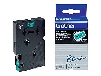 BROTHER etiquettes-noir/vert-rouleau 1,2 cm) (1 rouleau tC701 bROTHER p-tOUCH 12 green g-b mm-fond noir 7,7 m