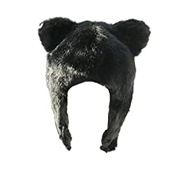 Born To Love Baby Girl\'s Wolf Faux Fur Hat-Black-S(0-12Months)
