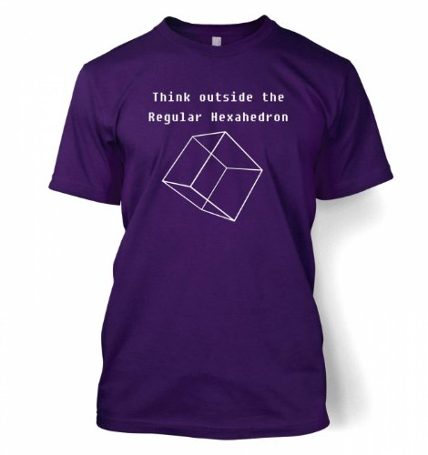 Think Outside The Regular Hexahedron T-shirt – Science Geek Tshirt – Purple XX-Large (50/52″)