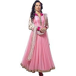 Jini Fashion Women's Net Semi Stitched Anarkali Suit (NK10017_Pink_Free Size)