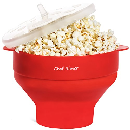 Chef Rimer Microwave Popcorn Popper Sturdy Convenient Handles Healthy No Oil Silicone Red Collapsible Hot Air Movie Theater Aroma Great Popcorn Maker Machine.BPA PVC Free With Lid (Solo Cream Soda compare prices)