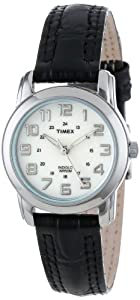 Timex Women's T2N435 Elevated Classics Sport Chic Black Leather Strap Watch by Timex