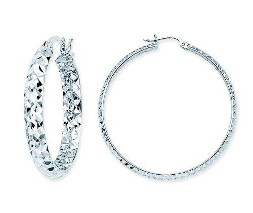 Sterling Silver Inside/Outside Diamond Cut Hoop Earrings
