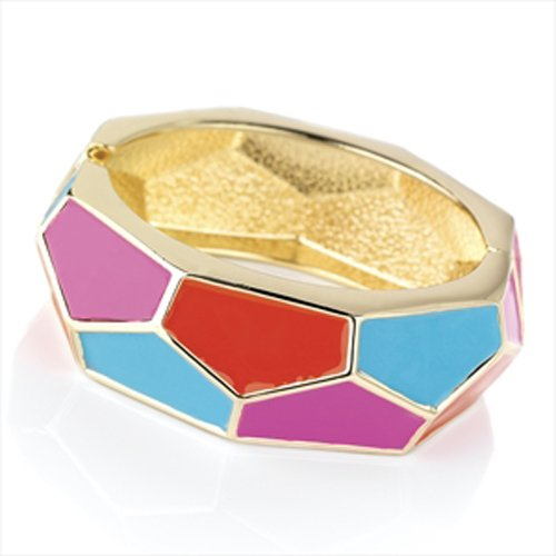 Multi-Coloured Hexagon Gold Cuff Bangle AJ25963