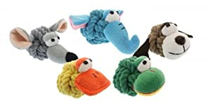 Multipet 4-Inch Rope Head Duck Dog toy with Plush Face
