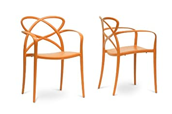 Huxx Orange Plastic Stackable Modern Dining Chair with Chanasya Polish Cloth Bundle (Set of Two)