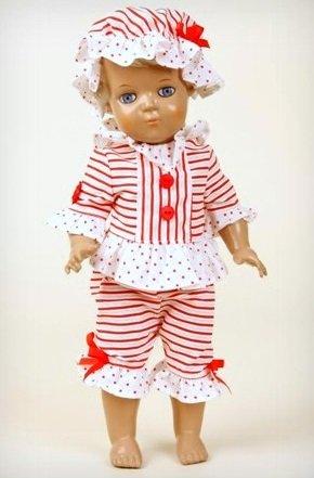 Schildkröt Puppen, Inge, 34 cm, blond, blaue Augen, im Oldfashion Badeanzug von Anno Dazumal