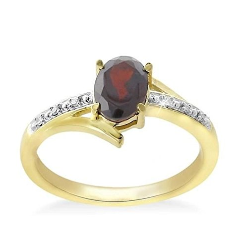 Princess Princess Diamonds Diamonds - 375/1000 Yellow Gold Garnet And Diamond Ring Size 50