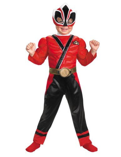 Red Ranger Samurai Muscle Toddler Halloween Costume 1t-2t -Disguise