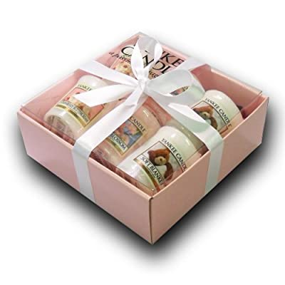 Yankee Candle - 6 Votive Sampler Branded Gift Box Incl 2x Strawberry Buttercream 2x Cherry Blossom 2x Soft Blanket In A Branded Yankee Candle Pink Gift Box With Purple Tissue Paper And White Ribbon from Yankee Candle
