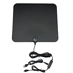TPE 50 Mile Range thin Indoor Amplified HDTV Antenna with Detachable Amplifier Power Supply for the Highest Performance -and 10ft Coax Cable