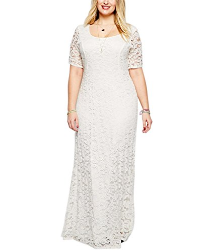 Nemidor® Women's Full Lace White Plus Size Wedding Maxi Dress (26, White)