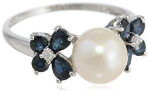 10k White Gold Sapphire, Freshwater Cultured Pearl and Diamond Ring (0.03 cttw GH, Color, I2-I3 Clarity), Size 8
