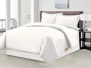 1500 Thread Count Egyptian Quality Solid Duvet Cover Set, 3pc Luxury Soft, All Sizes & Colors, (King, White)