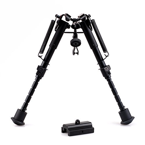 CISNO Sling Swivel Mount Folding Tactical Sniper Profile Spring Adjustable Bipod 5 Notch With Picatinny Quad Rail Adapter For Rifle (6''-9'') (Ar 7 Quad Rail compare prices)