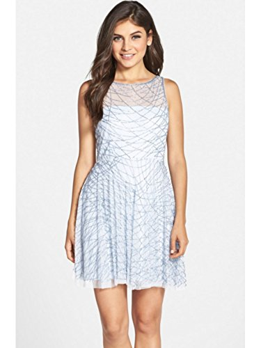 cbeaf4d9aba336 Adrianna Papell Light Sky Blue Beaded Stretch A-line Cocktail Dress-SIZE-10