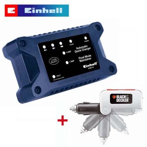 EINHELL KFZ Batterieladegerät Ladegerät BT BC 4 D - inklusive BLACK & DECKER Spannungswandler