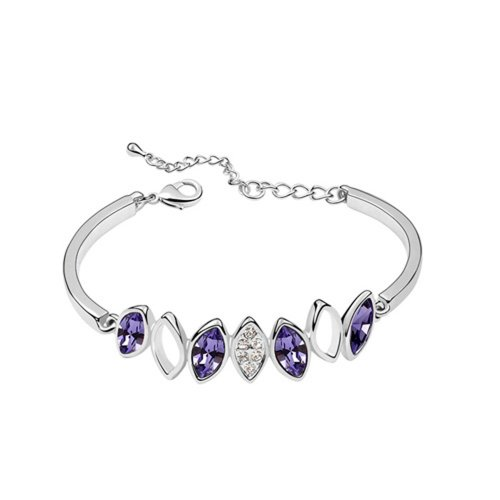 Dreamslink Fashion Jewellery 18K White Gold Plated Bangle Chain Purple Color Swarovski Elements Austria Crystal Shinning Crystal Inlay Overside Flower Bracelet 90367