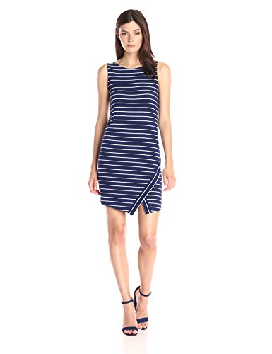 kensie-womens-light-weight-viscose-spandex-stripe-dress-with-slit-true-blue-large