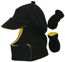 N\'ice Caps Boys Wrap Around Fleece Jockey Hat and Mitten Set (12-24 months, black/yellow)