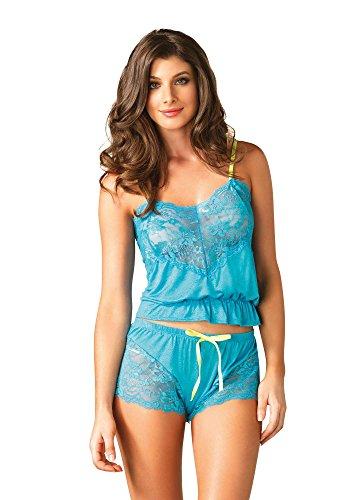 Pretty-Leg-Avenue-Super-Soft-Jersey-Knit-2-Piece-Lace-Camisole-Boy-Shorts-Set-Turquoise-S-L