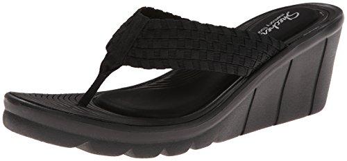 Skechers Cali Women's Promenade-Interlace Flip Flop, Black, 7 M US