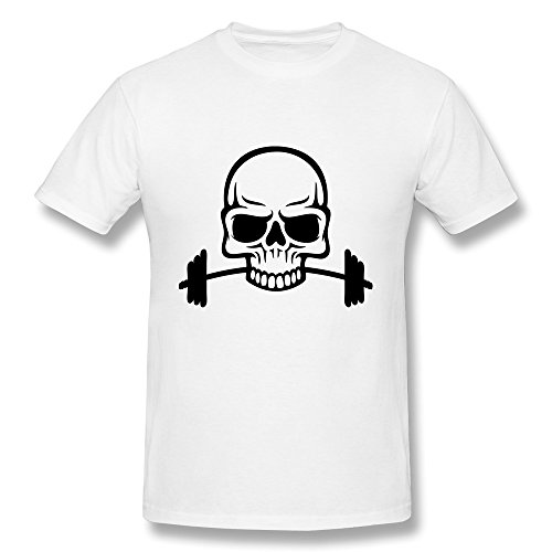 100% Cotton Retro Barbell Skull Shirts For Man'S - Round Neck front-474427