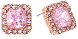 "Betsey Johnson ""Rose Gold Boost"" Pink Crystal Square Stud Earrings"