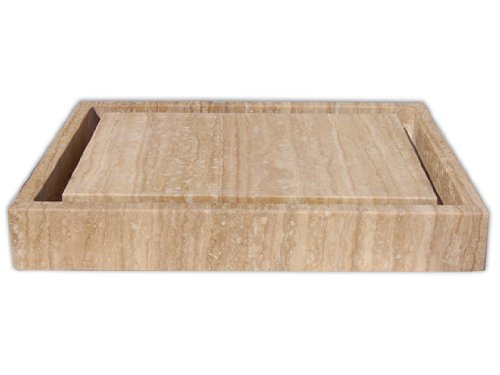 Rectangular Infinity Pool Vessel Sink in Honed Travertine