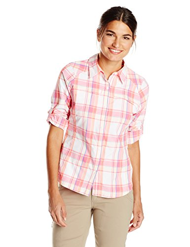 Columbia-Mens-Ridge-Silver-Long-Sleeve-Shirt-Rosa-Tropic-Pink-Dobby-Plaid-X-Large