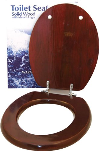 Mahogany Effect Toilet Seat with Chrome Fittings