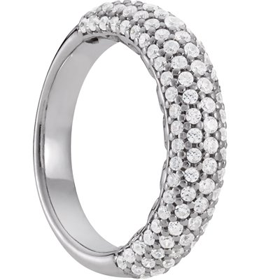 Sterling Silver 5 Row Cubic Zirconia Anniversary Band