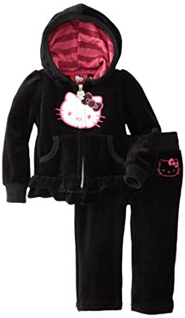 Hello Kitty Baby-Girls Infant Striped Hood Sweatsuit, Anthracite, 12 Months