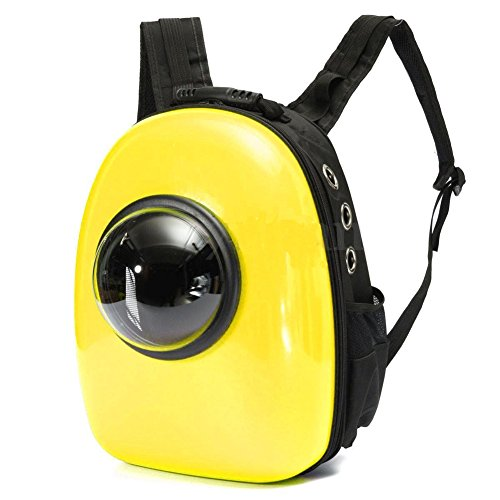 Astronaut Capsule Pet Backpack Transparent Breathable Dog Cat Carrier Travel Bag (Yellow)