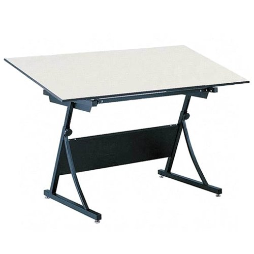 "Safco 39573948KIT Planmaster Height-Adjustable Drafting Table, 60"" Wide White Melamine Top, Heavy Du"
