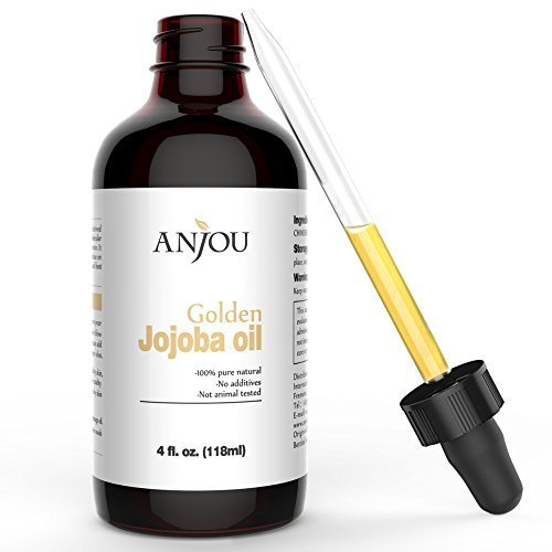 Golden Jojoba Oil, 4 fl. Oz, 100% Pure Virgin Cold Pressed Unrefined Carrier Oil, Best for Sensitive, Acne Prone & Dry Skin, Benefits Face and Hair