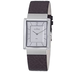 Skagen Men's 224LSLC1 Steel Silver Dial Brown Leather Strap Watch