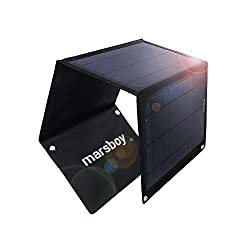 Marsboy 15W Solar Charger with Dual USB Port Foldable Portable iSmart Technology for Smartphones Tablets iPhone iPad
