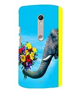 printtech Elephant Flowers Back Case Cover for Motorola Moto X Style