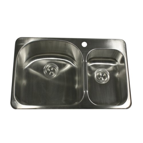 Nantucket Sinks NS3120 31-Inch  Double Bowl Self Rimming Stainless Steel Drop in Kitchen Sink