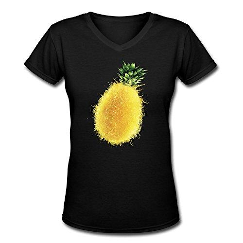Women's V-Neck T Shirt Tees Sport Spatter Pineapple Black SizeS (Shrek Costume Ideas)