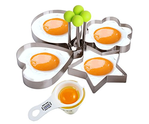 Fried Egg Mold Pancake Rings, Premium Stainless Steel Egg Shaper Ring with Egg Separator, Kitchen Tool for Kids and Lovers (Kitchen Tools Kids compare prices)