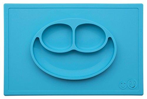 La Tovaglietta Felice di Smith - Tovaglietta all'Americana + Piatto Pezzo Unico in Silicone (Blu) + Cucchiaio a Bruco in Silicone di Smith GRATUITO (Prezzo di Vendita Consigliato: €4.68)