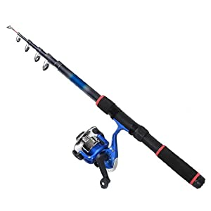 Como Blue Gray Telescopic 6 Sections Angling Fishing Rod 2.05M w Spinning Reel by Como
