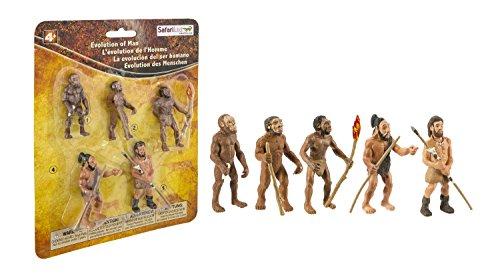 Safari Ltd Safariology Evolution of Man Historical Toy Figurines Including Australopithecus Afarensis, Homo Habilis, Homo Erectus, Neanderthal, and Cro-Magnon