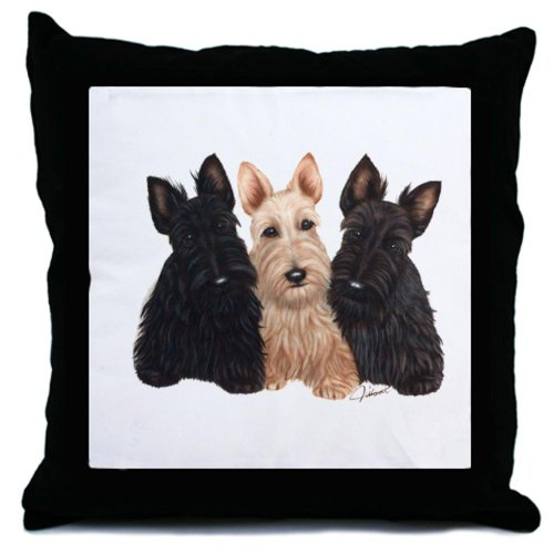 CafePress-Scottish Terrier-3Cuccioli-Cuscino Throw Pillow, cuscino decorativo Accent,
