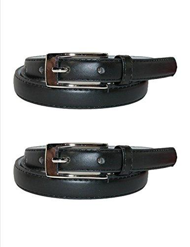 CTM® Womens Leather 3/4 Inch Skinny Dress Belt (Pack of 2), Xlarge, Black