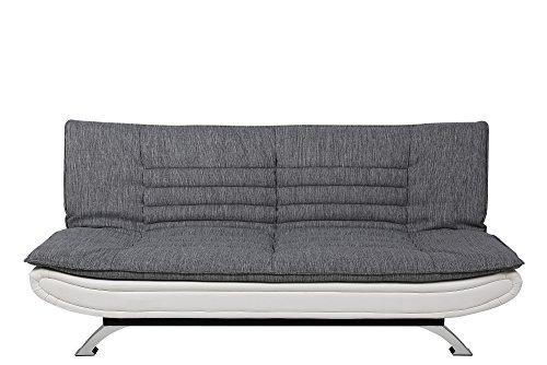 56982 Schlafsofa Jasper Liegefläche circa 196 x 123 cm Sitz- und Rücken Stoff hell grau Rahmen lederlook weiß Füße Metall verchromt