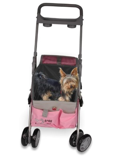 PINK PET DOG CAT 3 IN 1 DELUXE PET STROLLER